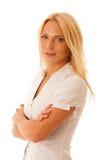Ξανθή γυναίκα τζιν παντελόνι πουκάμισων που απομονώνεται στο άσπρο πέρα από το άσπρο backg Στοκ εικόνες με δικαίωμα ελεύθερης χρήσης