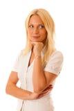 Ξανθή γυναίκα τζιν παντελόνι πουκάμισων που απομονώνεται στο άσπρο πέρα από το άσπρο backg Στοκ Εικόνες