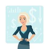 Ξανθή επιχειρησιακή γυναίκα, χαμογελώντας χαρακτήρας στο υπόβαθρο διαγραμμάτων Στοκ Εικόνα