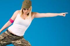 ξανθή κίνηση κοριτσιών χορού προκλητική με το α Στοκ Εικόνα