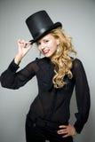 ξανθή κορυφή γέλιου καπέλ& στοκ φωτογραφίες