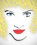 ξανθή μαλλιαρή γυναίκα διανυσματική απεικόνιση