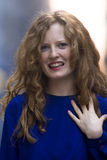 ξανθή μπλε γυναίκα πουκάμ&io Στοκ Εικόνες