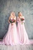 Ξανθή ομορφιά Τέλειες πρότυπες γυναίκες μόδας στο ρόδινο φόρεμα στοκ φωτογραφία