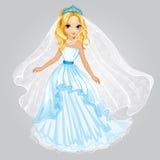 Ξανθή πριγκήπισσα ομορφιάς στο γαμήλιο φόρεμα απεικόνιση αποθεμάτων