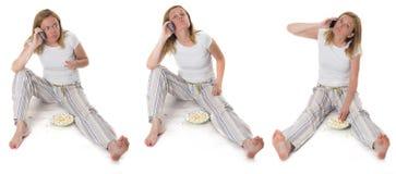 ξανθή τηλεφωνική γυναίκα &kapp Στοκ φωτογραφία με δικαίωμα ελεύθερης χρήσης