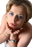 ξανθή φυσώντας γυναίκα φι&lamb στοκ φωτογραφίες