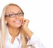 ξανθή χαμογελώντας γυναίκα Στοκ Εικόνες