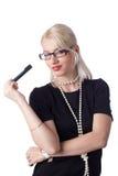 ξανθή χαριτωμένη thnking γυναίκα γραφικών παραστάσεων Στοκ φωτογραφία με δικαίωμα ελεύθερης χρήσης
