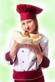 Ξανθός ελκυστικός θηλυκός αρχιμάγειρας Στοκ Φωτογραφία