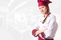 Ξανθός ελκυστικός θηλυκός αρχιμάγειρας Στοκ Εικόνα