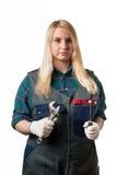 Ξανθός με τα εργαλεία Στοκ Φωτογραφία
