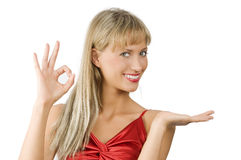 ξανθός παρουσιαστής κορ& Στοκ εικόνα με δικαίωμα ελεύθερης χρήσης