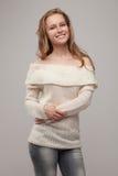ξανθός σε ένα άσπρο πουλόβερ Στοκ εικόνα με δικαίωμα ελεύθερης χρήσης