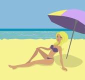 Ξανθός σε μια παραλία διανυσματική απεικόνιση