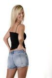 ξανθό γράμμα Τ δεξαμενών σορτς λευκόχρυσου Jean πρότυπο Στοκ εικόνες με δικαίωμα ελεύθερης χρήσης