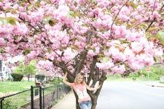ξανθό δέντρο κοριτσιών κερασιών ανθών κάτω Στοκ Φωτογραφίες