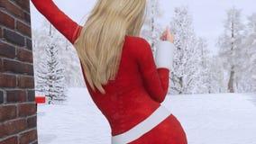 Ξανθό κορίτσι κατά την προκλητική πίσω άποψη κοστουμιών Άγιου Βασίλη 4K διανυσματική απεικόνιση