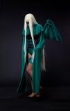 ξανθό κορίτσι μανίας χαρακτήρα cosplay πράσινο Στοκ Φωτογραφίες