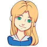Ξανθό κορίτσι, με τα πράσινα μάτια sticker διανυσματική απεικόνιση