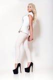 Ξανθό κορίτσι μόδας, υψηλή βασική σκηνή Στοκ εικόνα με δικαίωμα ελεύθερης χρήσης