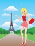 ξανθό κορίτσι Παρίσι Στοκ Φωτογραφίες