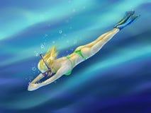 Ξανθό κορίτσι που βουτά στη θάλασσα