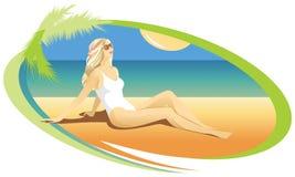 Ξανθό κορίτσι που κάνει ηλιοθεραπεία στην παραλία διανυσματική απεικόνιση