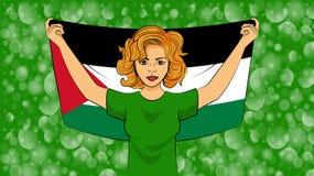Ξανθό κορίτσι που κρατά μια εθνική σημαία της Παλαιστίνης διανυσματική απεικόνιση