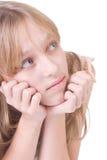 ξανθό κορίτσι στοχαστικό Στοκ φωτογραφία με δικαίωμα ελεύθερης χρήσης