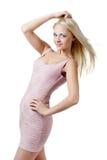 ξανθό κορίτσι φορεμάτων στοκ εικόνα με δικαίωμα ελεύθερης χρήσης