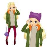 Ξανθό κορίτσι ύφους πόλεων στο παλτό Greeen διανυσματική απεικόνιση