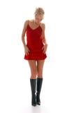 ξανθό κόκκινο νύχτας κοριτσιών φορεμάτων Στοκ εικόνα με δικαίωμα ελεύθερης χρήσης