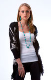 ξανθό μοντέλο μόδας περιστ& Στοκ Εικόνες