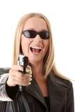ξανθό πορτρέτο πυροβόλων όπ&la Στοκ Φωτογραφία