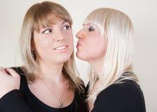 ξανθό φίλημα κοριτσιών brunett cheeck Στοκ εικόνες με δικαίωμα ελεύθερης χρήσης
