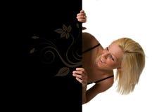 ξανθό χαμόγελο τριχώματος κοριτσιών πινάκων διαφημίσεων Στοκ Εικόνα