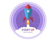 Ξεκίνημα Βγάλτε τον πύραυλο Σύμβολο της επιτυχούς επιχειρησιακής έναρξης απεικόνιση αποθεμάτων