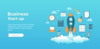 Ξεκίνημα επιχειρησιακού προγράμματος, οικονομικός σχεδιασμός, ιδέα, στρατηγική, διαχείριση, πραγματοποίηση και επιτυχία Έναρξη πυ απεικόνιση αποθεμάτων