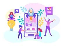 Ξεκίνημα μιας κινητής εφαρμογής, δημιουργία ενός κινητού σε απευθείας σύνδεση προγράμματος, εργασία σε μια ομάδα των σχεδιαστών,  στοκ εικόνα με δικαίωμα ελεύθερης χρήσης