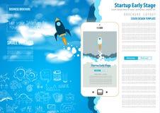 Ξεκίνημα που προσγειώνεται Webpage ή τις εταιρικές καλύψεις σχεδίου απεικόνιση αποθεμάτων