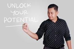 Ξεκλειδώστε τα πιθανά, κινητήρια εμπνευσμένα αποσπάσματά σας στοκ φωτογραφία με δικαίωμα ελεύθερης χρήσης
