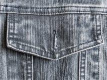 Ξεκουμπωμένη παλαιά τριμμένη γκρίζα τσέπη τζιν Στοκ εικόνα με δικαίωμα ελεύθερης χρήσης