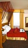 ξενοδοχείο κρεβατοκάμαρων πολυτελές Στοκ εικόνα με δικαίωμα ελεύθερης χρήσης