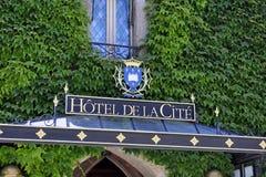 Ξενοδοχείο στην ενισχυμένη πόλη του Carcassonne Στοκ εικόνα με δικαίωμα ελεύθερης χρήσης