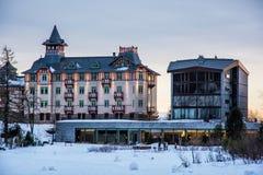 Ξενοδοχείο στο pleso Strbske, υψηλό Tatras, Σλοβακία, SCE ηλιοβασιλέματος Στοκ εικόνα με δικαίωμα ελεύθερης χρήσης