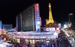 Ξενοδοχείο του Παρισιού και χαρτοπαικτική λέσχη, Παρίσι Λας Βέγκας, Bally ` s Λας Βέγκας, νύχτα, φως, μητρόπολη, δομή στοκ εικόνες