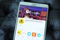Ξενοδοχεία του Expedia, πτήσεις και αυτοκίνητα app Στοκ φωτογραφίες με δικαίωμα ελεύθερης χρήσης