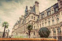 ξενοδοχείο Παρίσι αιθουσών πόλεων de Γαλλία ville Οικοδόμηση του Δημαρχείου Τρύγος Στοκ φωτογραφία με δικαίωμα ελεύθερης χρήσης