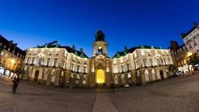 Ξενοδοχείο de ville Rennes de nuit Στοκ φωτογραφία με δικαίωμα ελεύθερης χρήσης